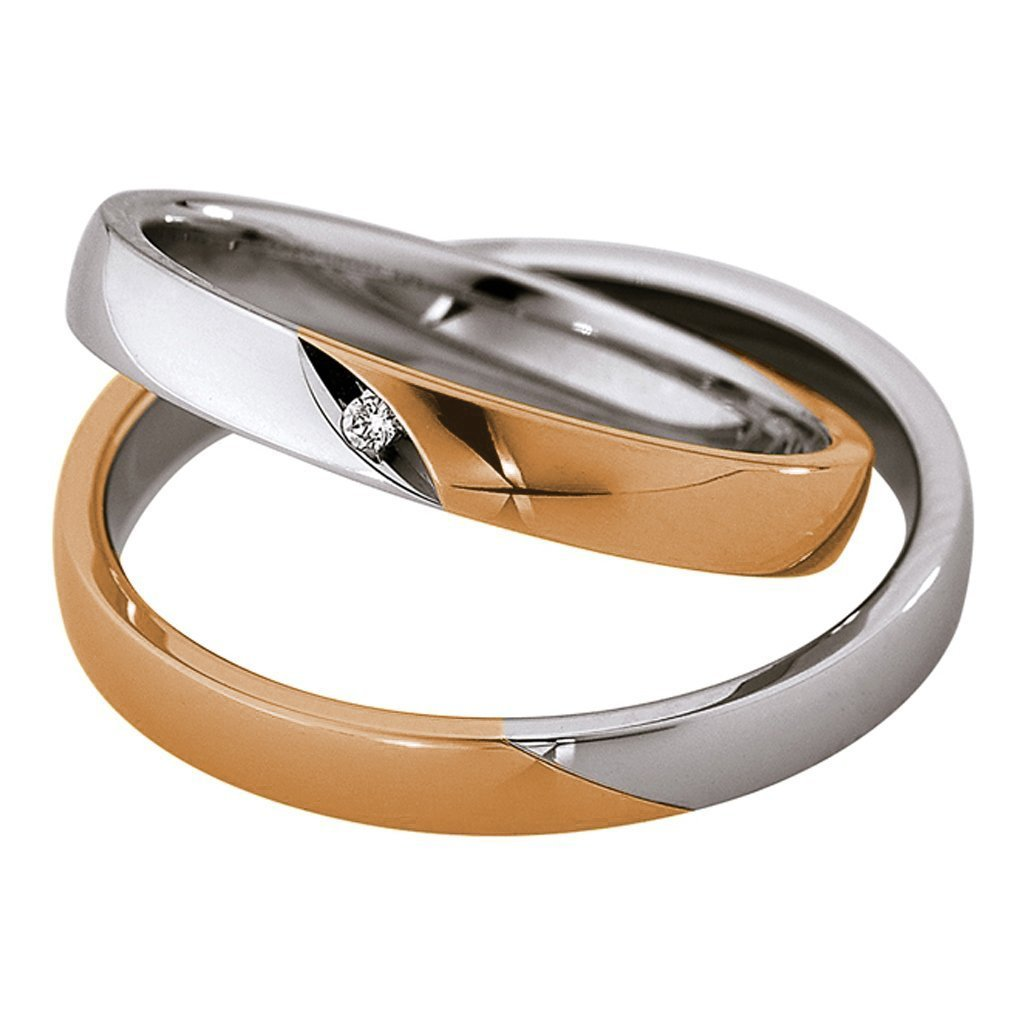 Saint Maurice Light Collection 87018-87019 Bicolor Wedding Rings - Goldy Jewelry