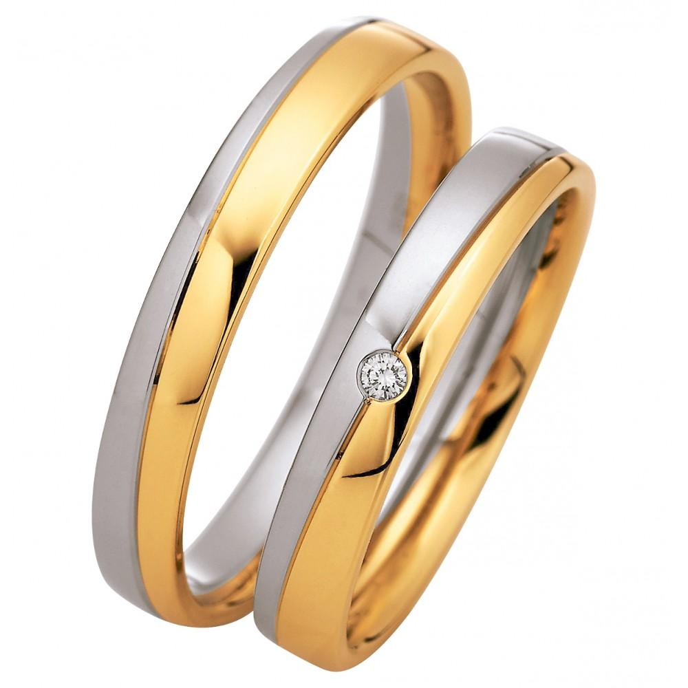 Saint Maurice Light Collection 87060-87061 Bicolor Wedding Rings - Goldy Jewelry