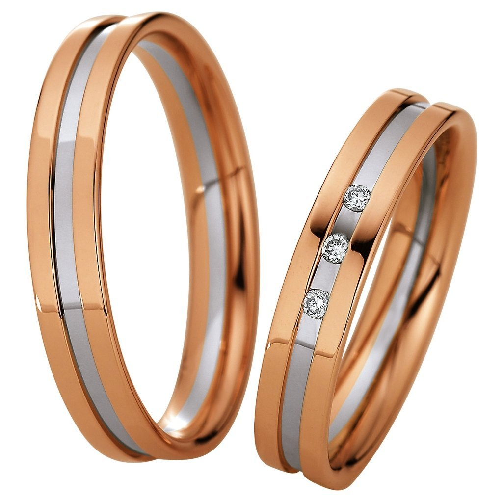 Saint Maurice Light Collection 87072-87073 Bicolor Wedding Rings - Goldy Jewelry