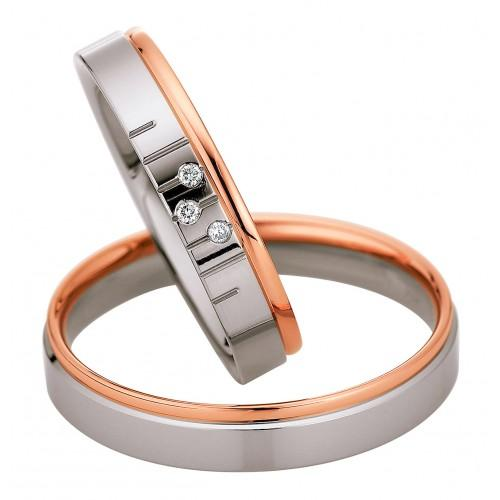 Saint Maurice Light Collection 87074-87075 Gold Bicolor Wedding Rings - Goldy Jewelry Store
