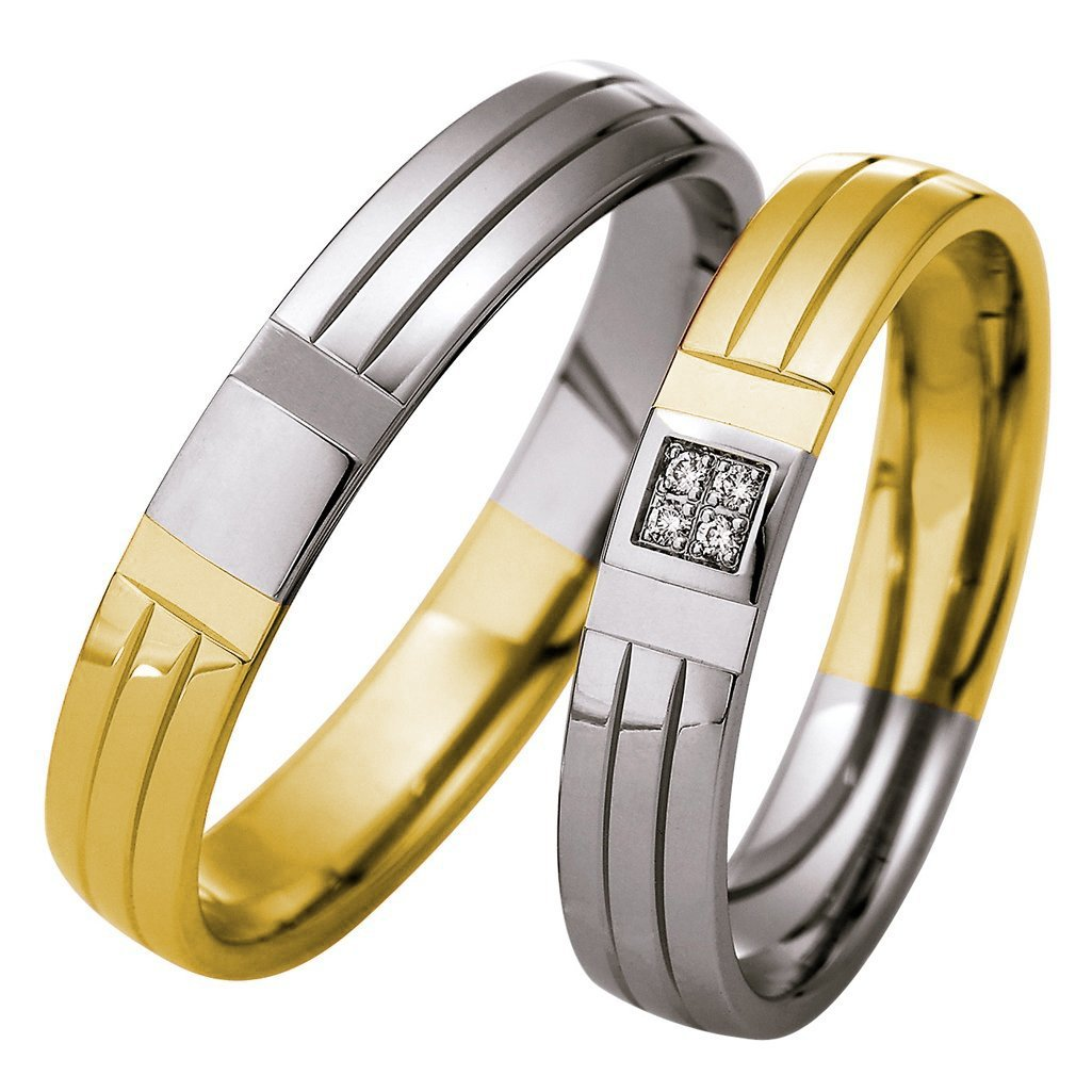 Saint Maurice Light Collection 87078-87079 Bicolor Wedding Rings - Goldy Jewelry