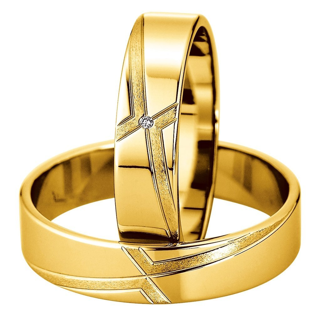 Saint Maurice Slim Collection 81514-81515 White Gold Wedding Rings - Goldy Jewelry Store
