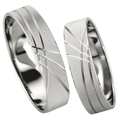 Saint Maurice Slim Collection 81518-81519 White Gold Wedding Rings - Goldy Jewelry Store