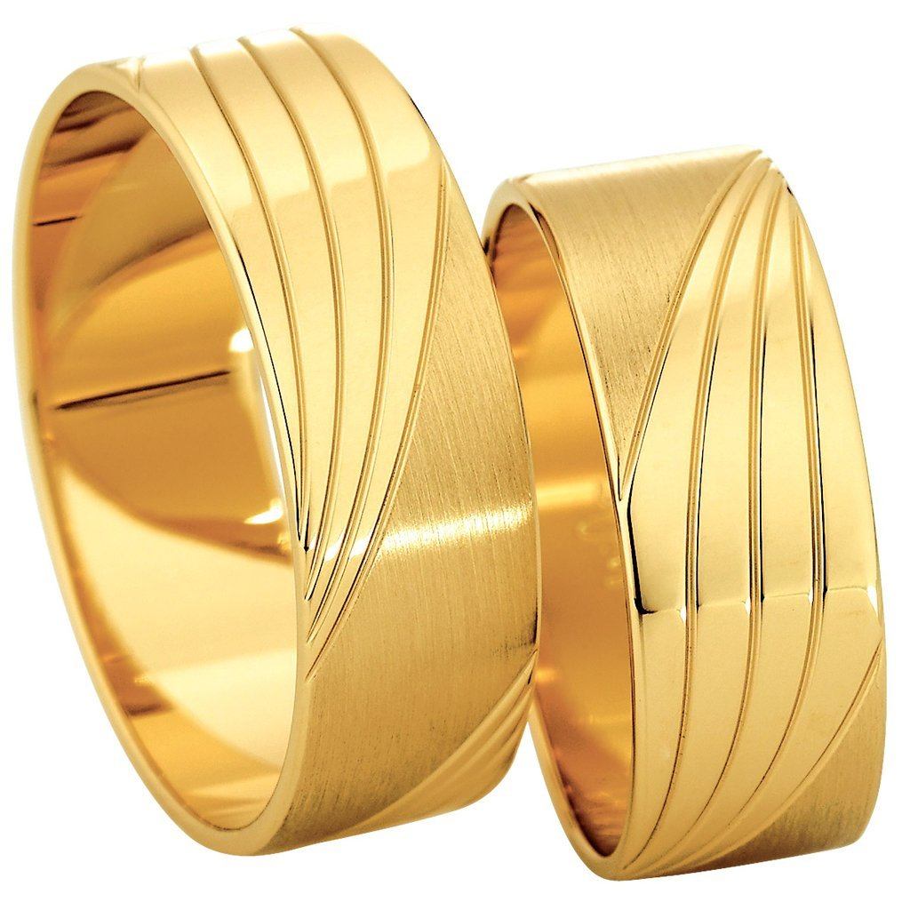 Saint Maurice Slim Collection 81526-81527 Gold Wedding Rings - Goldy Jewelry Store