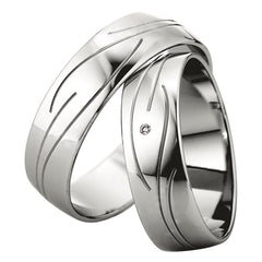 Saint Maurice Slim Collection 81532-81533 White Gold Wedding Rings - Goldy Jewelry Store