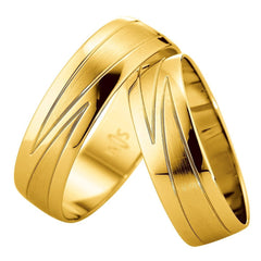 Saint Maurice Slim Collection 81534-81535 White Gold Wedding Rings - Goldy Jewelry Store