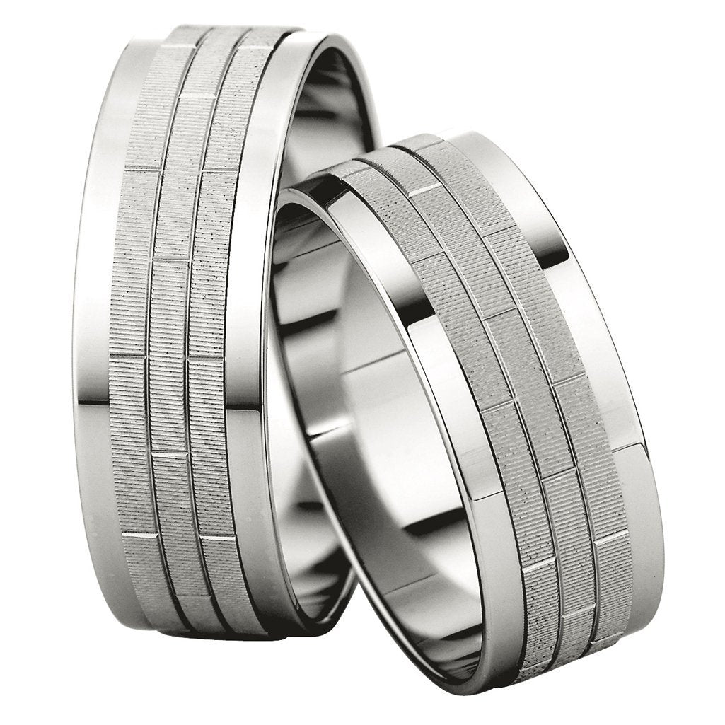 Saint Maurice Slim Collection 81538-81539 White Gold Wedding Rings - Goldy Jewelry Store