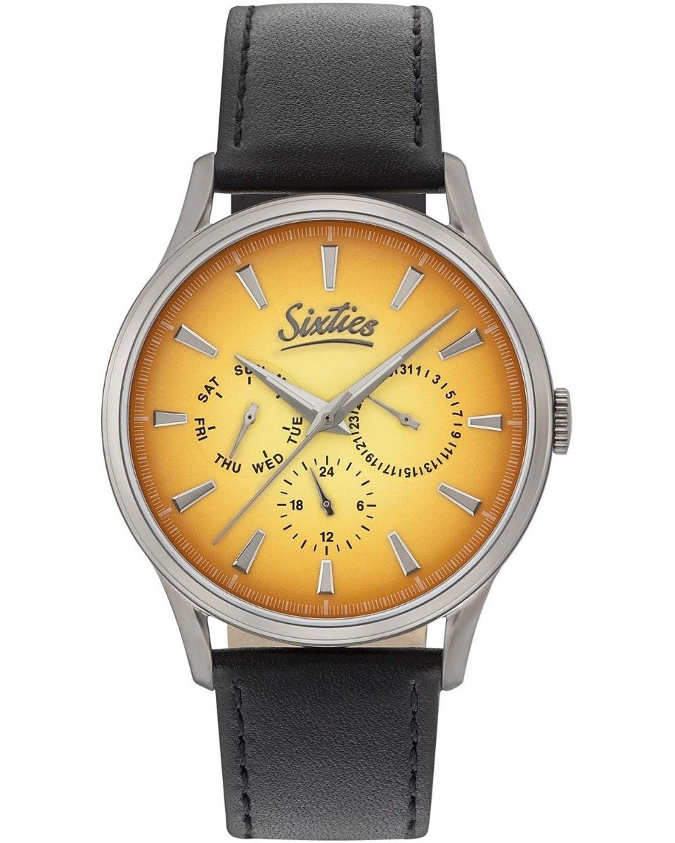 Sixties GUL600-12-1 Multifunction Black Leather Strap - Κοσμηματοπωλείο Goldy