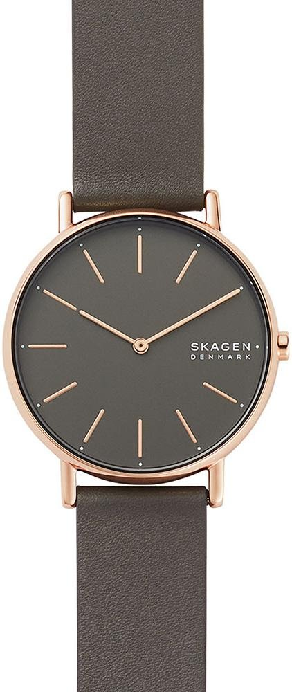 SKAGEN SKW2794 Signature Grey Leather Strap - Κοσμηματοπωλείο Goldy