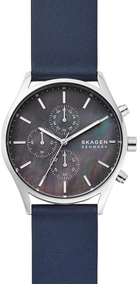 SKAGEN SKW6653 Holst Blue Leather Chronograph - Goldy Jewelry