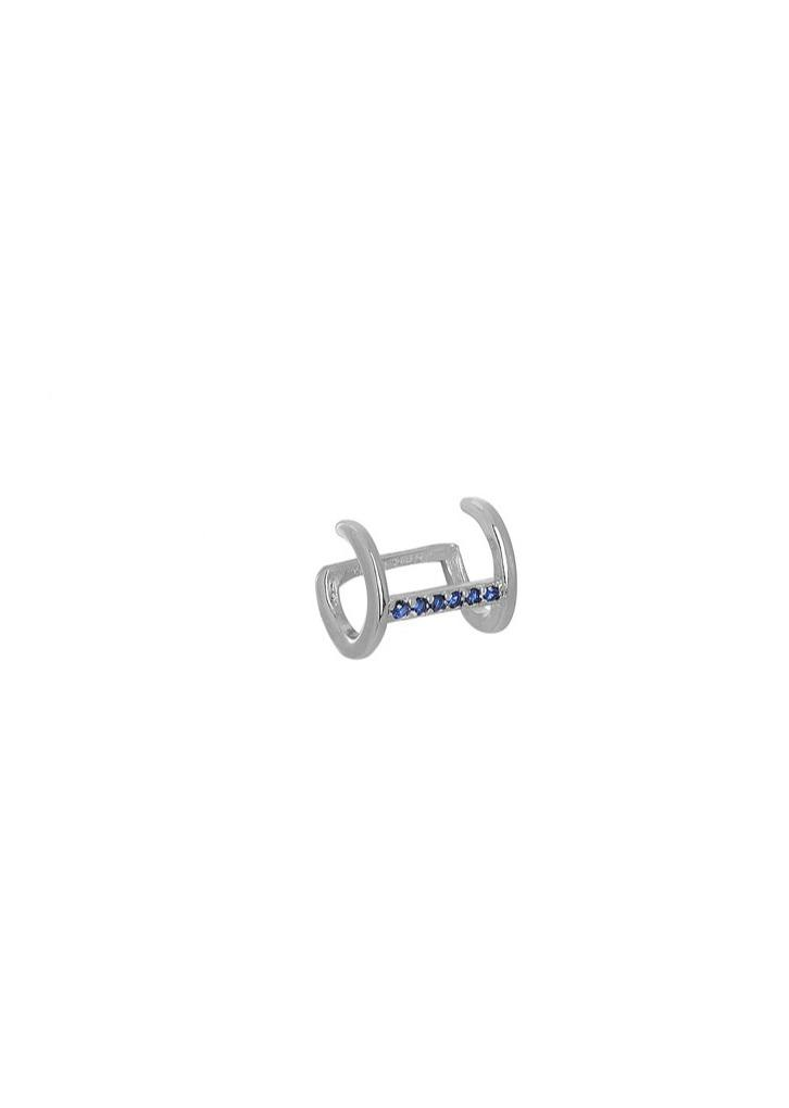 Earring 8A-SC193-1M Platinum Plating with Blue Zircon - Goldy Jewelry Store