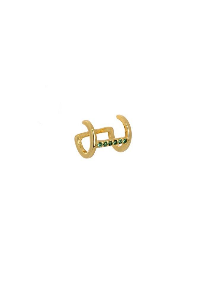 Earring 8A-SC193-3E Gold Plated Silver with Green Zircon - Goldy Jewelry Store