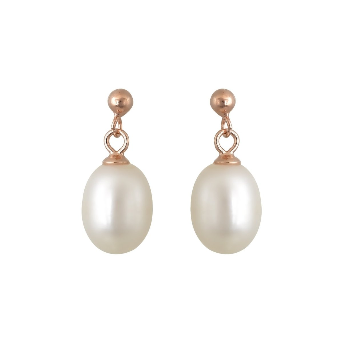 Earrings ER31362 Pendants with Rose Gold Plated Silver with Pearls - Goldy Jewelry Store