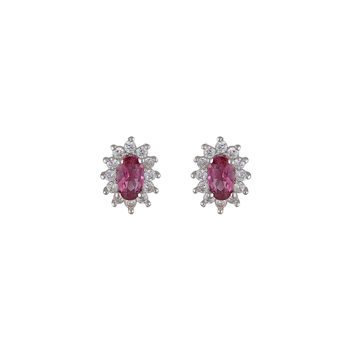 Earrings ER73498 Red Rosette with Platinum Silver - Goldy Jewelry Store