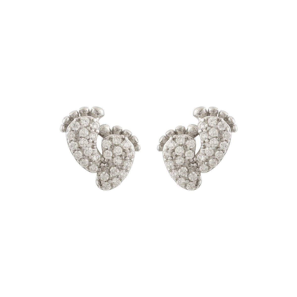 Earrings ES1848 Silver Slippers with Zircon - Goldy Jewelry Store