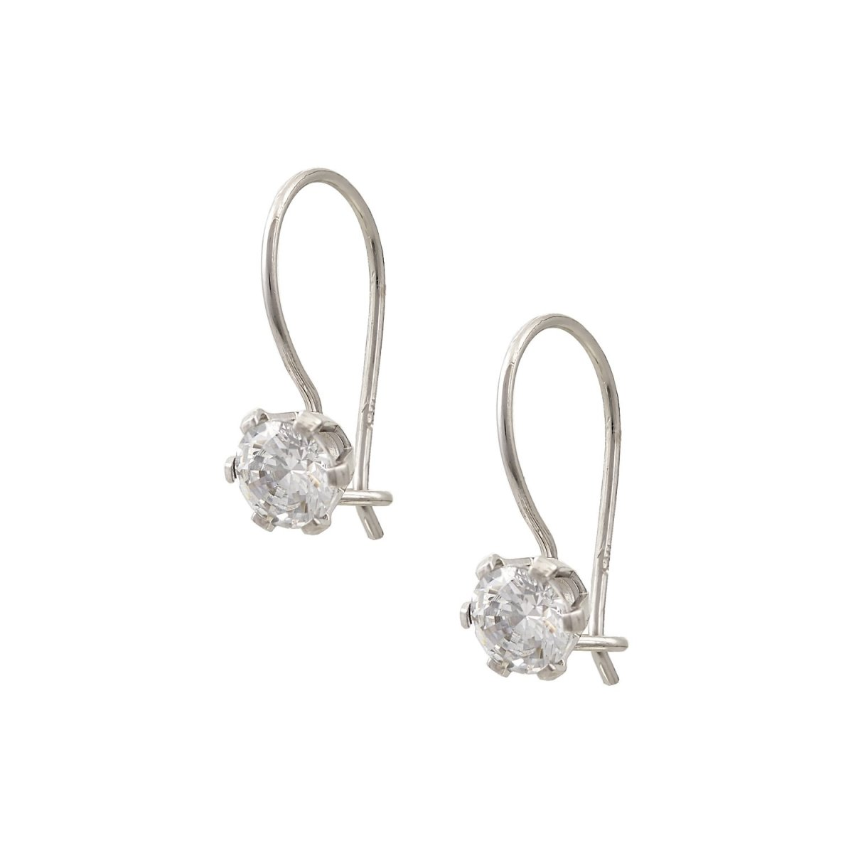 Pendant Earrings SK3500W Made of White Gold K14 with Zircon - Goldy Jewelry Store