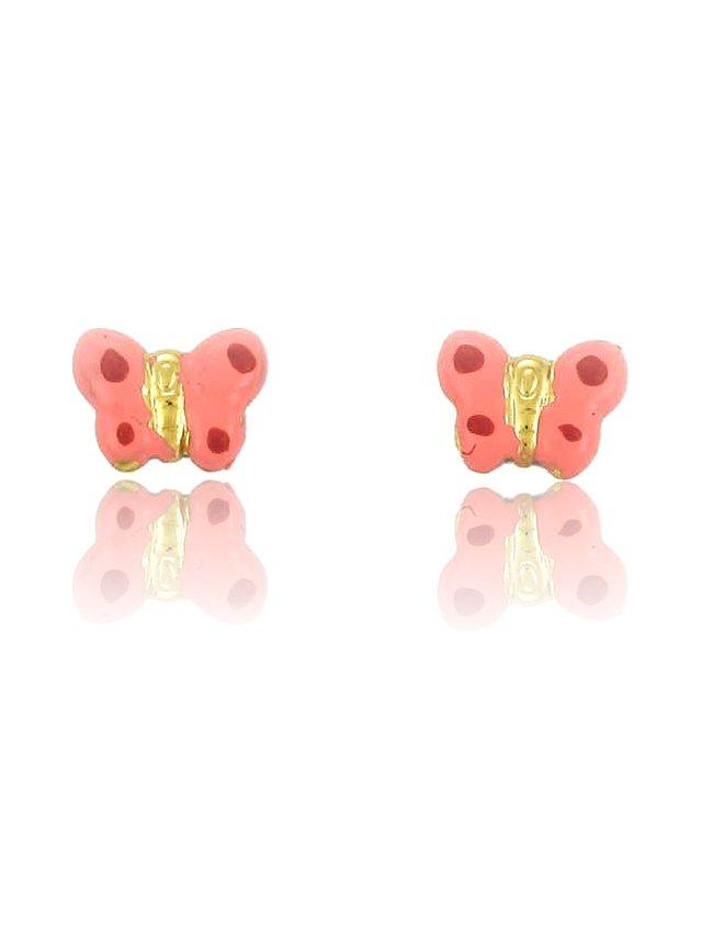 Kids Earrings ERG11024 with Pink Butterfly Gold K9 - Goldy Jewelry Store