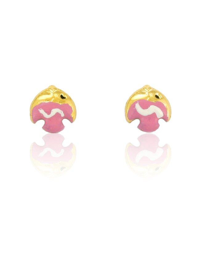 Kids Earrings ERG11035 with Purple Gold Fish K9 - Goldy Jewelry Store