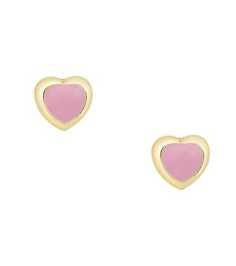 Kids Earrings SK212 Gold with Pink Heart K9 - Goldy Jewelry Store