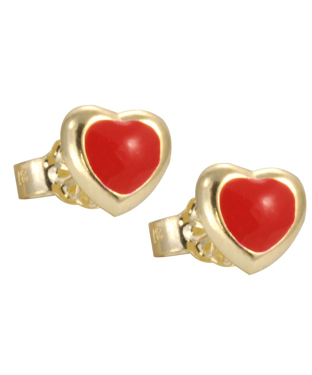 Kids Earrings SK213 Gold with Red Heart K9 - Goldy Jewelry Store