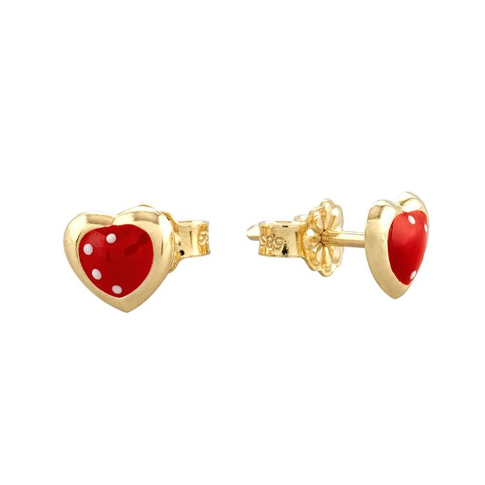 Kids Earrings SK216 Gold with Red Heart K9 - Goldy Jewelry Store