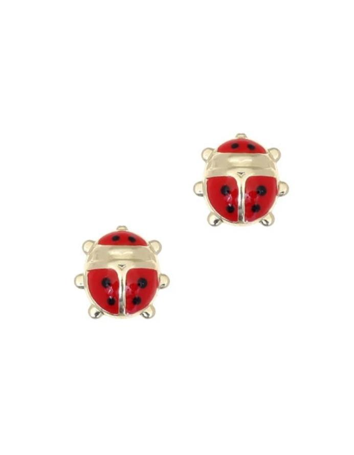 Kids Earrings SK220 Gold with Ladybug K9 - Goldy Jewelry Store