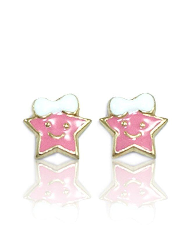 Kids Earrings SK223 Gold with Pink Star K9 - Goldy Jewelry Store