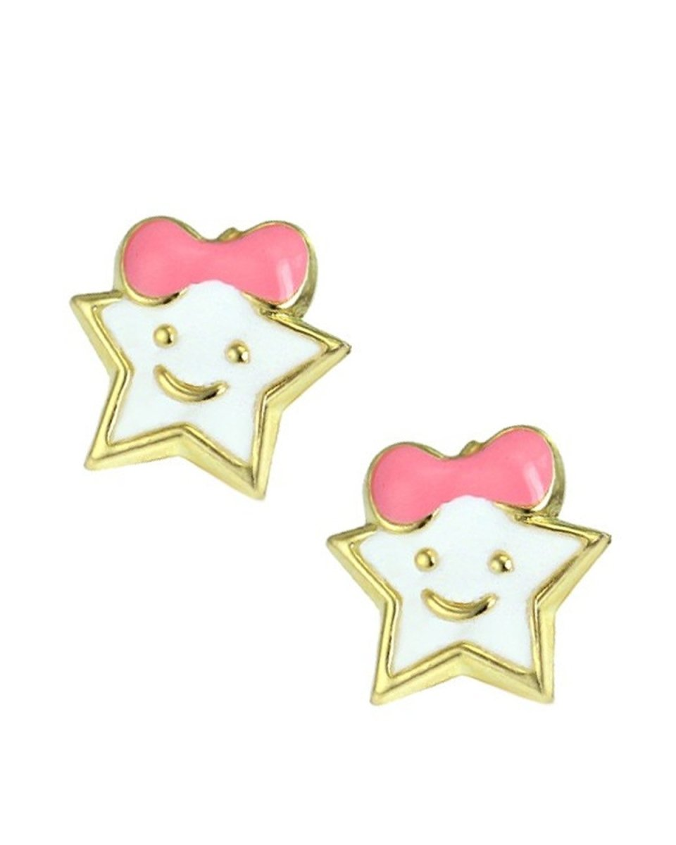 Kids Earrings SK224 Gold with White Star K9 - Goldy Jewelry Store