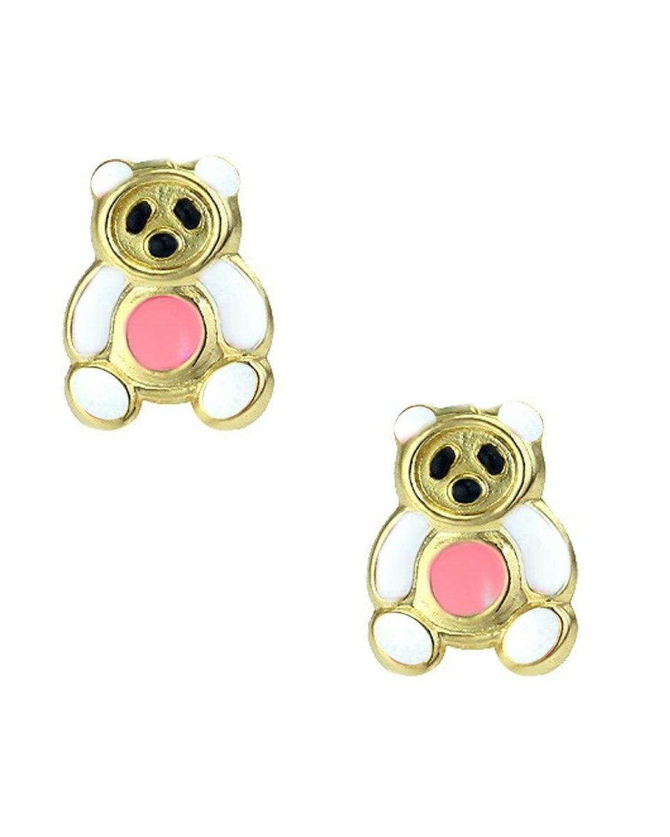 Kids Earrings SK225 Gold With White Bear K9 - Goldy Jewelry Store