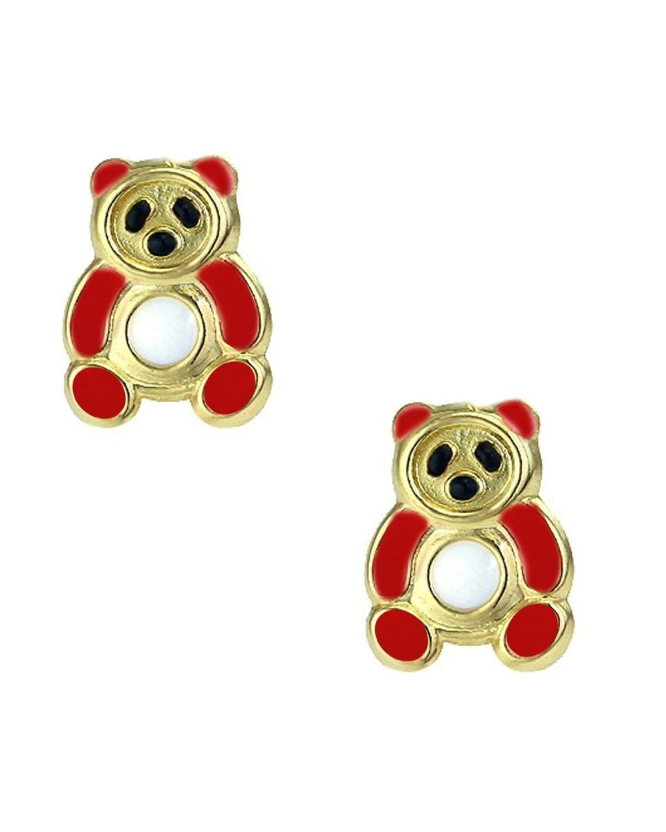 Kids Earrings SK227 Gold with Red Bear K9 - Goldy Jewelry Store