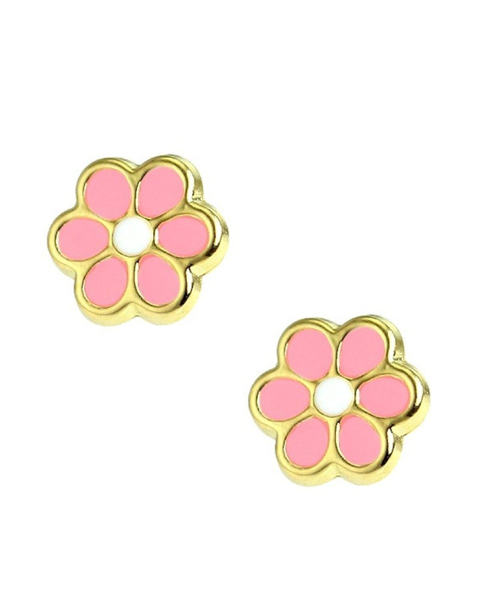 Kids Earrings SK229 Gold with Pink Margarita K9 - Goldy Jewelry Store