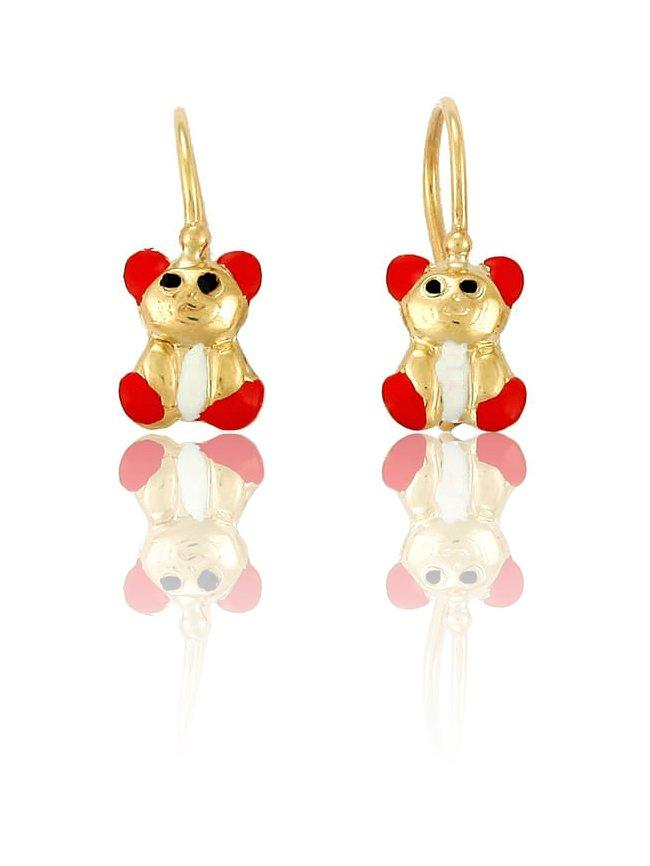 Children's Gold Earrings ERG11039 with Red Bear K9 - Goldy Jewelry Store