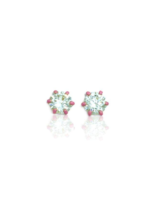 Earrings SK265 Gold K9 with White Zircon and Pink Enamel - Goldy Jewelry Store