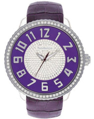 Tendence TO430044 Glam Crystals Purple Leather Strap - Κοσμηματοπωλείο Goldy