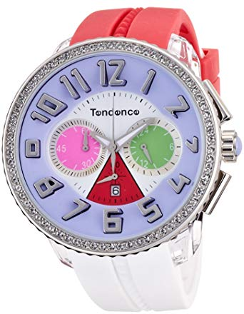 Tendence TO460406 Crazy Crystals White & Pink Rubber Chronograph - Κοσμηματοπωλείο Goldy