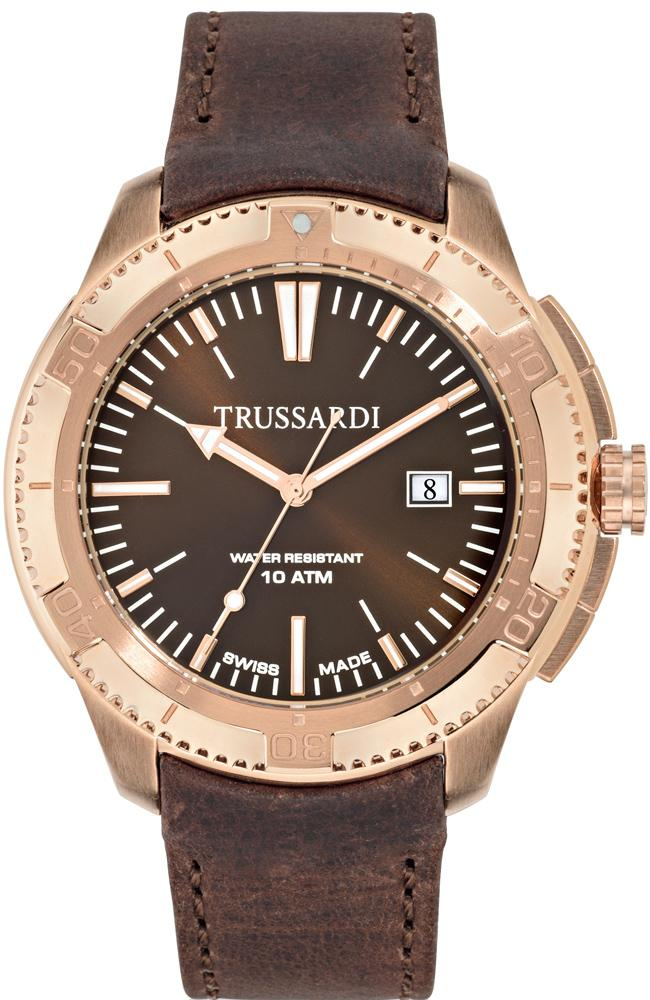 TRUSSARDI R2451101001 Rose Gold Brown Leather Strap - Jewelry Goldy