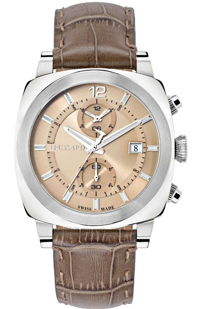 TRUSSARDI R2451102005 Chronograph Brown Leather Strap - Κοσμηματοπωλείο Goldy