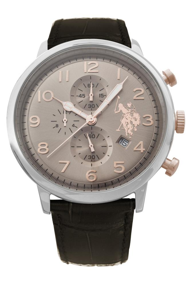 U.S. Polo USP4355BR Varenne Chronograph Brown Leather Strap - Κοσμηματοπωλείο Goldy