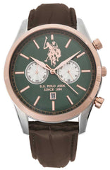 US POLO USP4407GR Ambassador Chronograph Brown Leather Strap - Goldy Jewelry