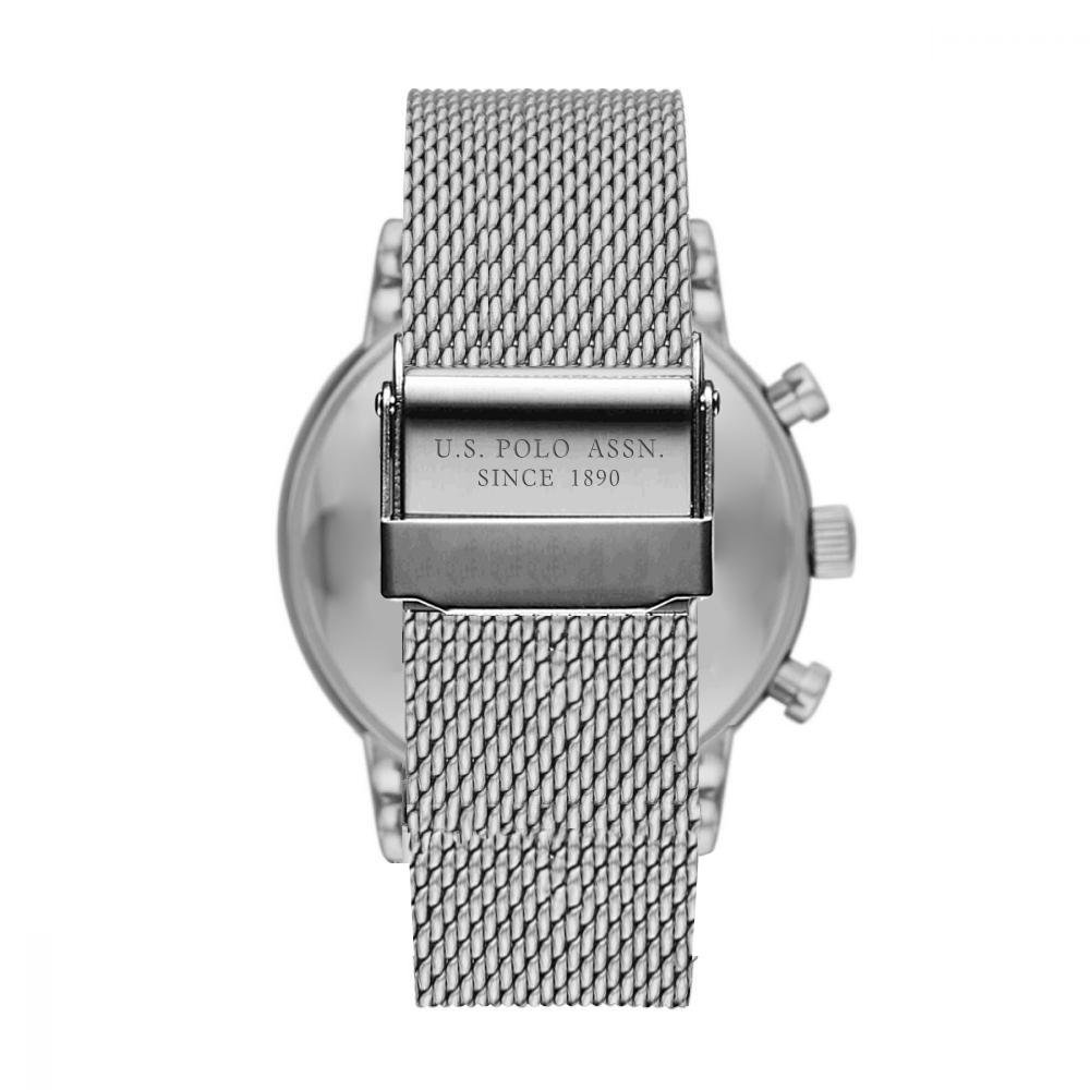 US POLO USP4853ST Aiden Silver Stainless Steel Bracelet Chronograph - Jewelry Goldy