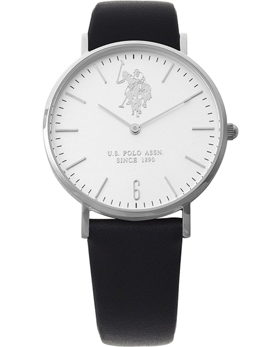US Polo USP5294ST Heritage Black Leather Strap - Goldy Jewelry