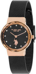 US POLO USP5872BK Angelique Crystals Black Stainless Steel Bracelet - Goldy Jewelry