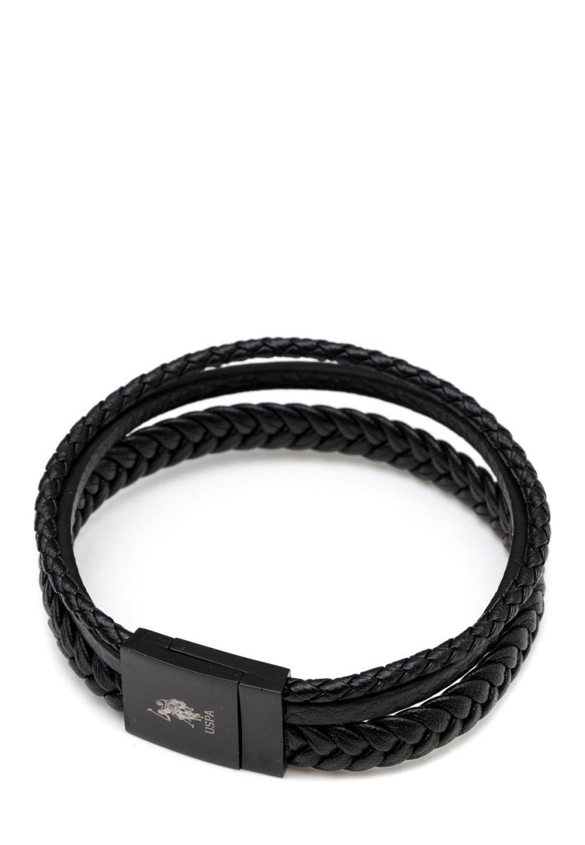 US POLO USPJ925BR Men's Stainless Steel Leather Bracelet - Goldy Jewelry Store