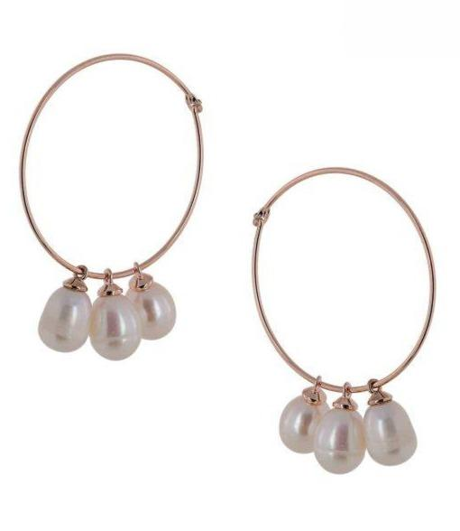 Visetti MS-WSC065R Rose Gold Plated Steel Rings with Pearls - Goldy Jewelry Store