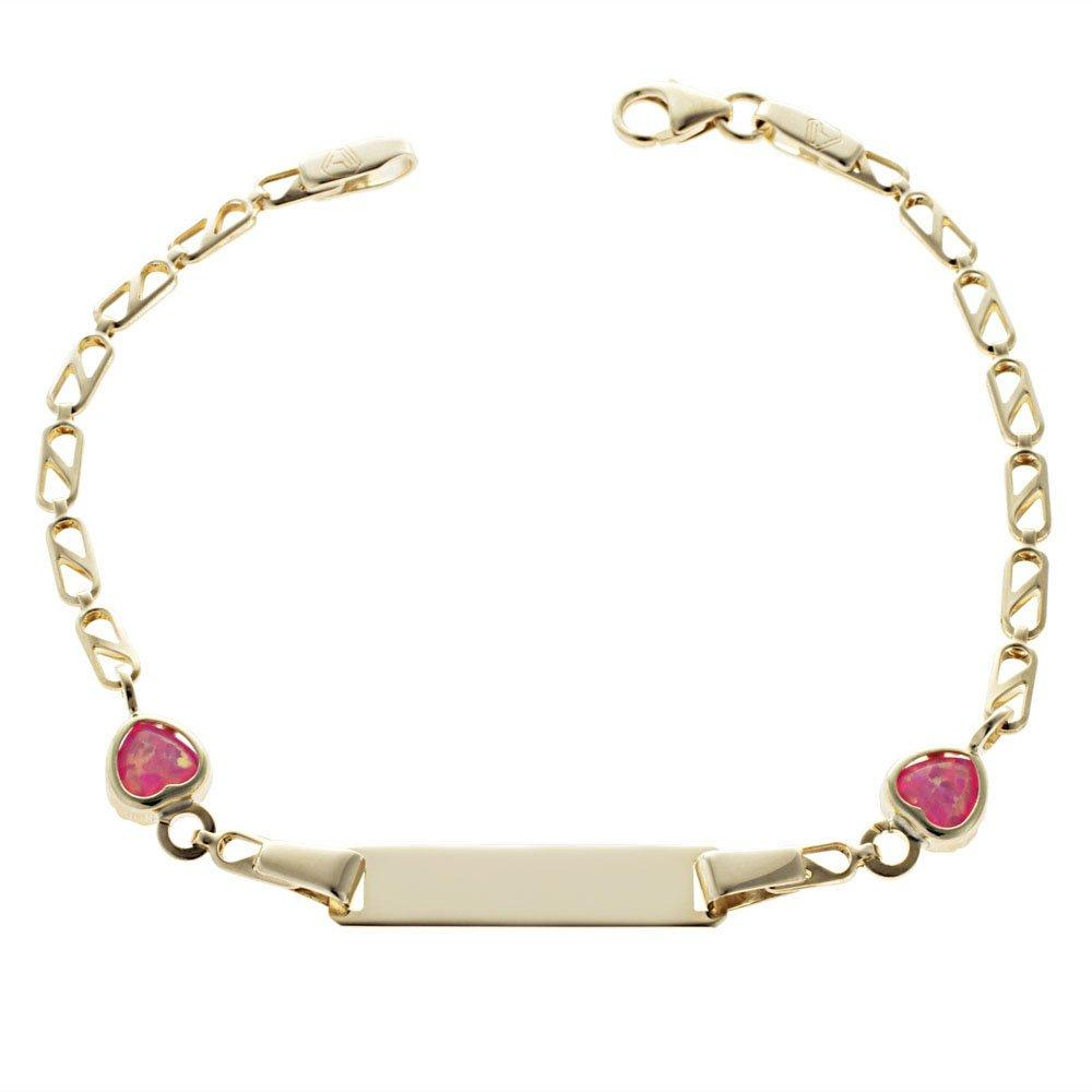 Gold Child ID T110 K9 with Pink Hearts - Goldy Jewelry Store