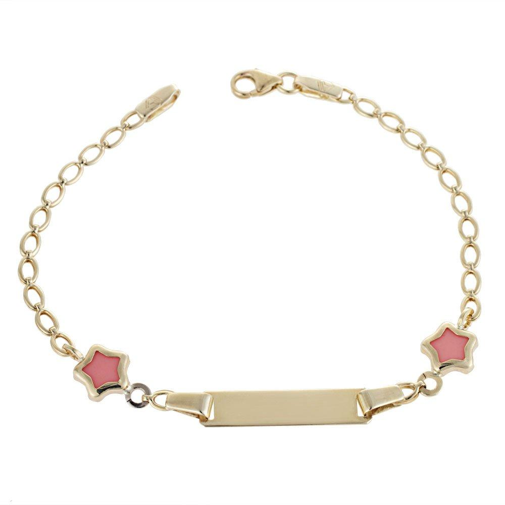 Gold Children's Identity T113 K9 with Pink Stars - Goldy Jewelry Store