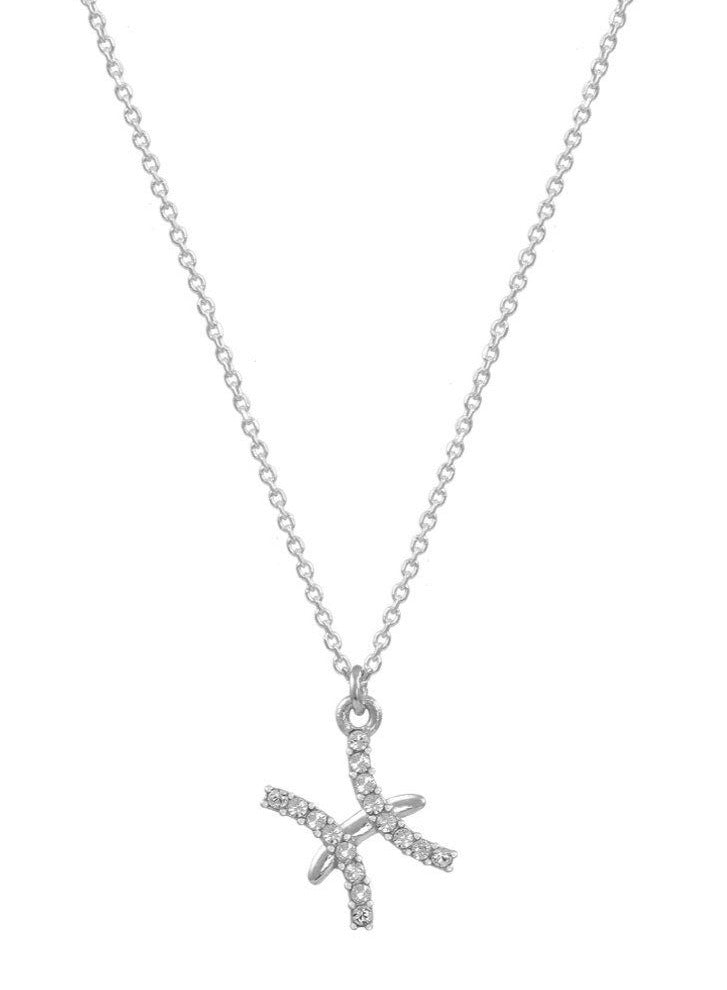 Pisces Zodiac Sign E51209W-12 Platinum Sterling Silver Necklace - Goldy Jewelry Store