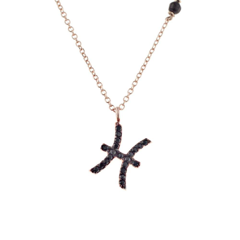 Pisces Z012 K9 Rose Gold with Black Zircon - Goldy Jewelry Store