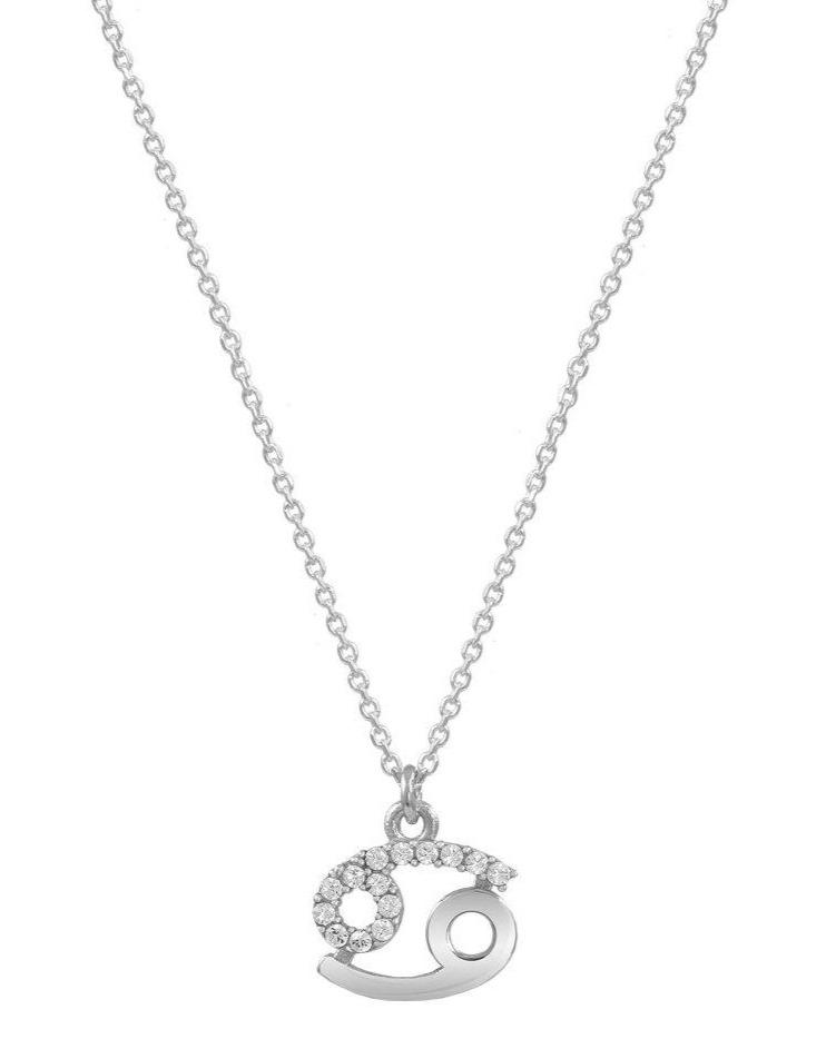 Cancer Zodiac Sign E51209W-4 Platinum Silver Necklace - Goldy Jewelry Store