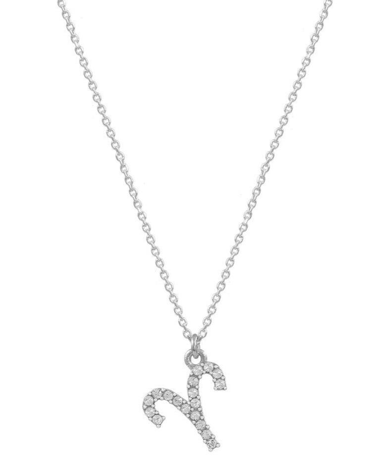 Aries zodiac sign E51209W-1 Platinum Sterling Silver Necklace - Goldy Jewelry Store